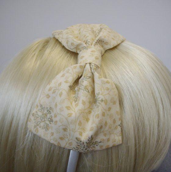 Cream Gold Christmas Snowflake Bow Headband detail