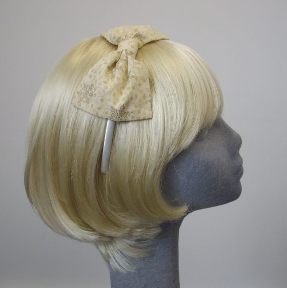 Cream Gold Christmas Snowflake Bow Headband side