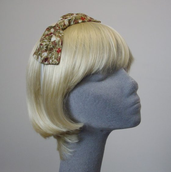 Ivory Christmas Holly Bow Headband angle
