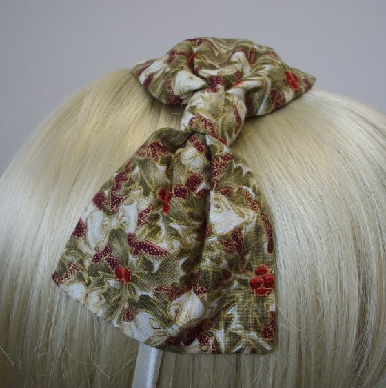 Ivory Christmas Holly Bow Headband detail
