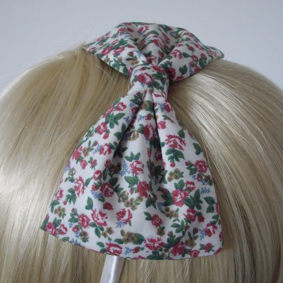 Ivory Pink Ditsy Floral Bow Headband detail