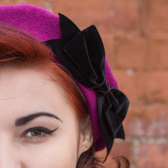 Magenta Beret Black Velvet Ribbon Bow detail2