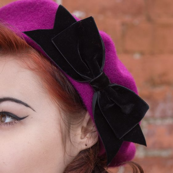 Magenta Beret Black Velvet Ribbon Bow detail