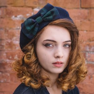 Navy Beret Blackwatch Tartan Bow