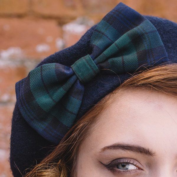 Navy Beret Blackwatch Tartan Bow detail
