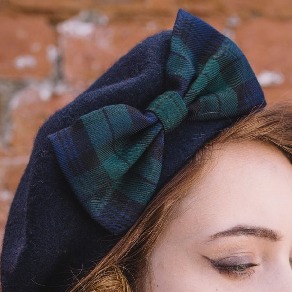 Navy Beret Blackwatch Tartan Bow detail2