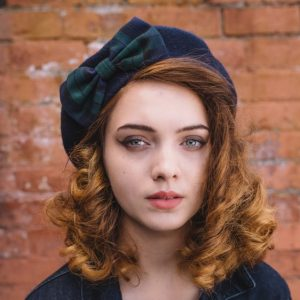 Navy Beret Blackwatch Tartan Bow front