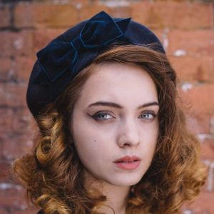 Navy Beret Navy Velvet Ribbon Bow