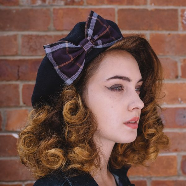 Navy Beret Purple Lilac Tartan Bow
