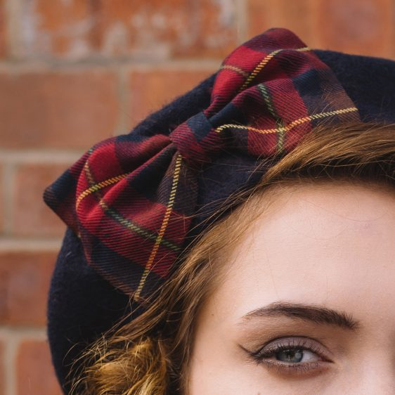 Navy Beret Wine-Navy Tartan Bow detail