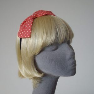 Coral Pink Polka Dot Bow Headband