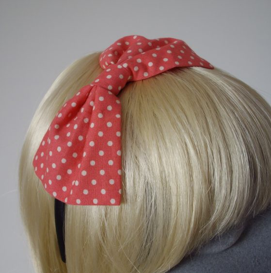 Coral Pink Polka Dot Bow Headband detail2