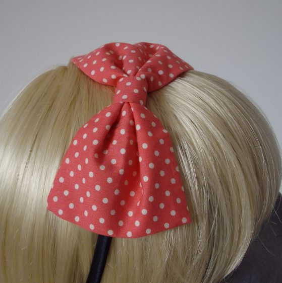 Coral Pink Polka Dot Bow Headband detail