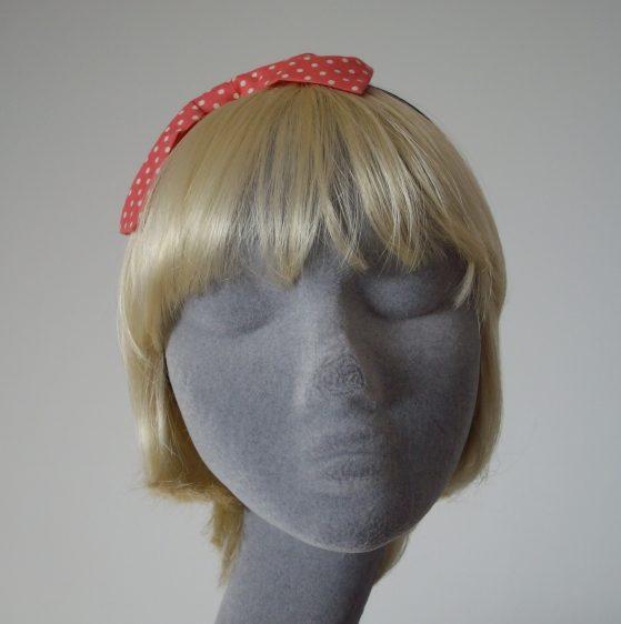 Coral Pink Polka Dot Bow Headband front