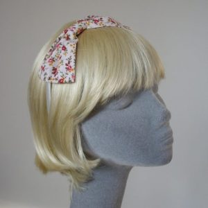 Pink Ditsy Rose Bow Headband