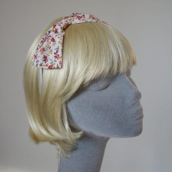 Pink Ditsy Rose Bow Headband