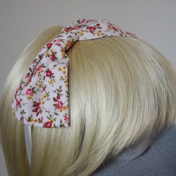 Pink Ditsy Rose Bow Headband detail2