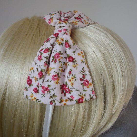Pink Ditsy Rose Bow Headband detail