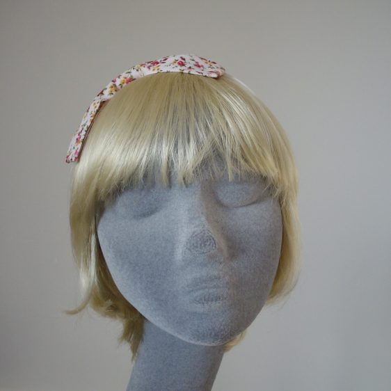 Pink Ditsy Rose Bow Headband front