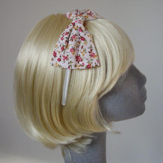 Pink Ditsy Rose Bow Headband side