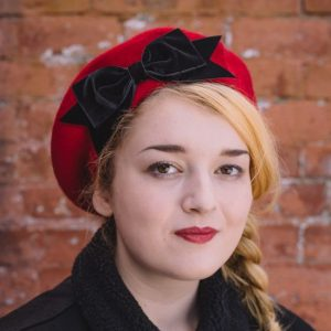 Red Beret Black Velvet Ribbon Bow