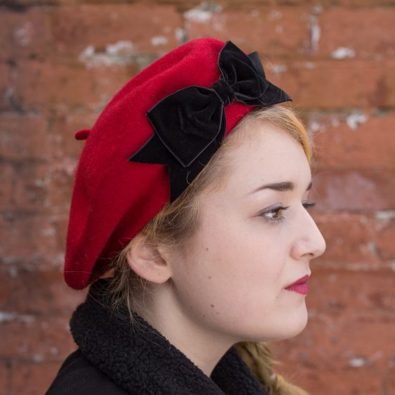 Red Beret Black Velvet Ribbon Bow side