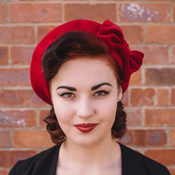 Red Beret Red Velvet Bow-front