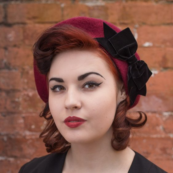 Wine Red Beret Black Velvet Ribbon Bow angle