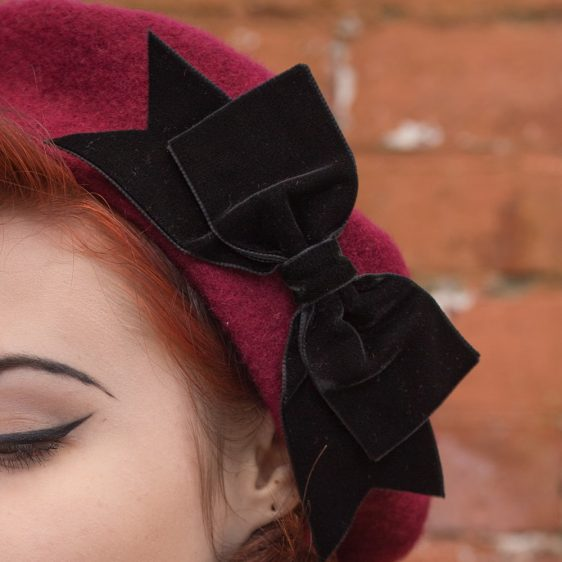 Wine Red Beret Black Velvet Ribbon Bow detail