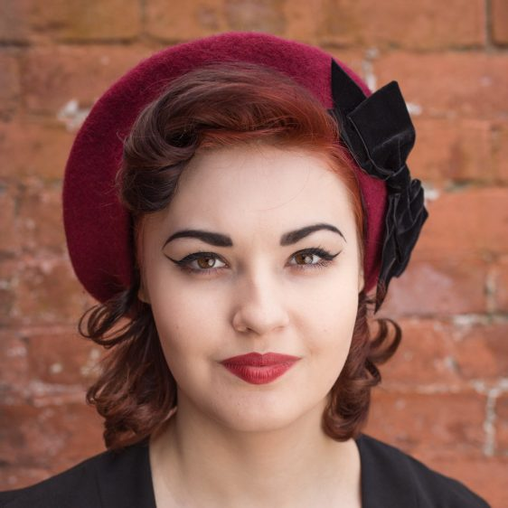 Wine Red Beret Black Velvet Ribbon Bow front