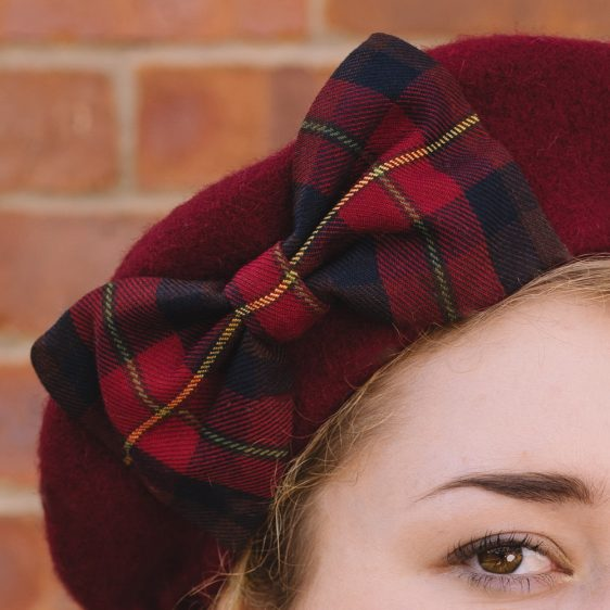 Wine Red Beret Wine-Navy Tartan Bow detail