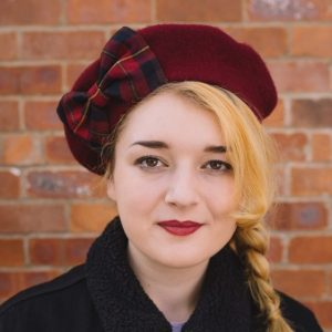 Wine Red Beret Wine-Navy Tartan Bow