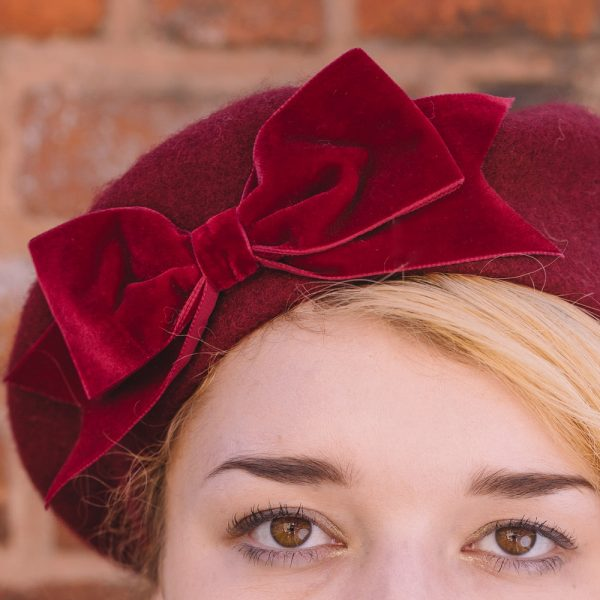 Wine red beret with wine red velvet ribbon bow detail
