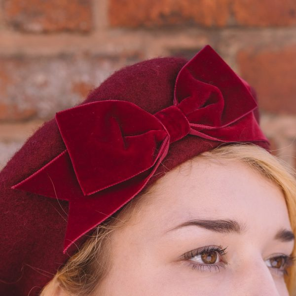 Wine red beret with wine red velvet ribbon bow detail2