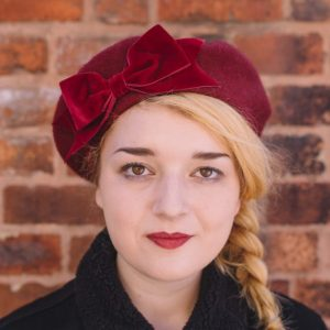 Wine Red Beret Wine Red Velvet Ribbon Bow front