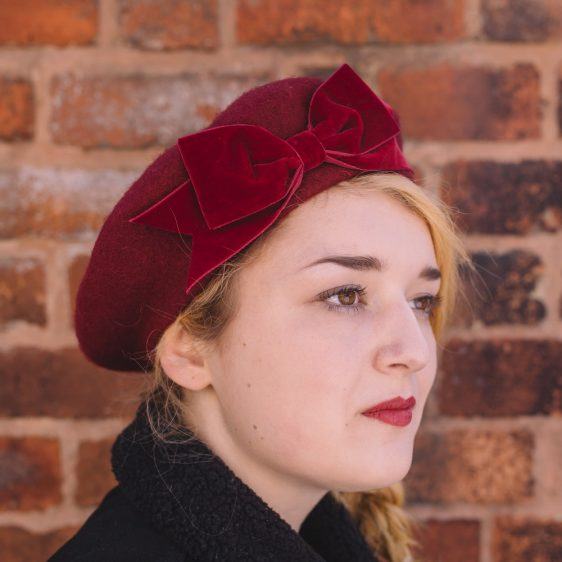 Wine red beret with wine red velvet ribbon bow side
