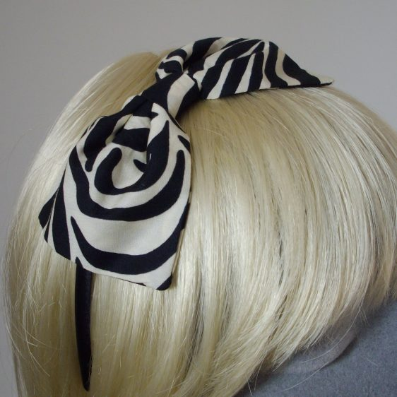 Zebra Print Bow Headband detail2