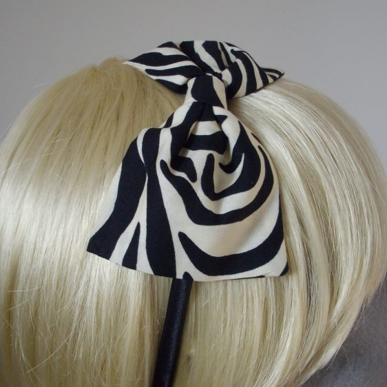 Zebra Print Bow Headband detail