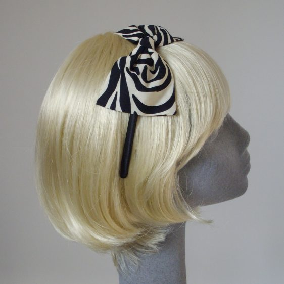 Zebra Print Bow Headband side