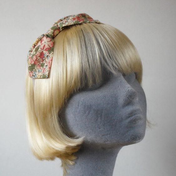 Beige Pink Floral Bow Headband