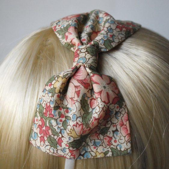 Beige Pink Floral Bow Headband detail