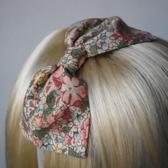 Beige Pink Floral Bow Headband detail2
