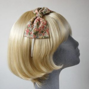 Beige Pink Floral Bow Headband side