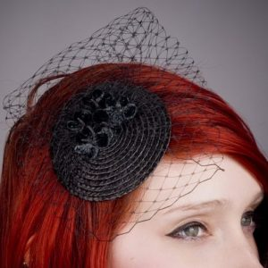 Black Blossom Flower Fascinator detail
