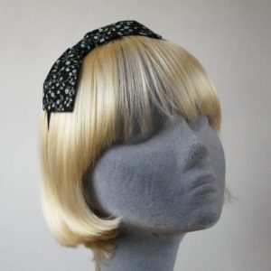 Black Aqua Floral Bow Headband