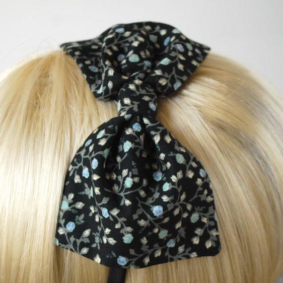Black Aqua Floral Bow Headband detail