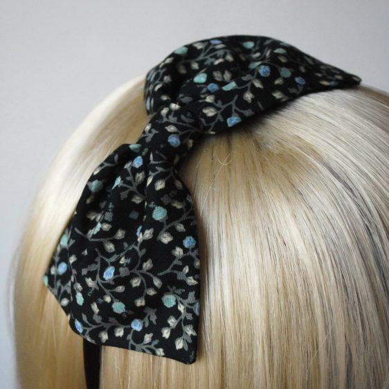 Black Aqua Floral Bow Headband detail2
