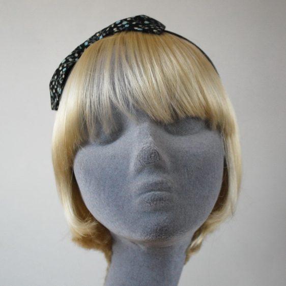 Black Aqua Floral Bow Headband front