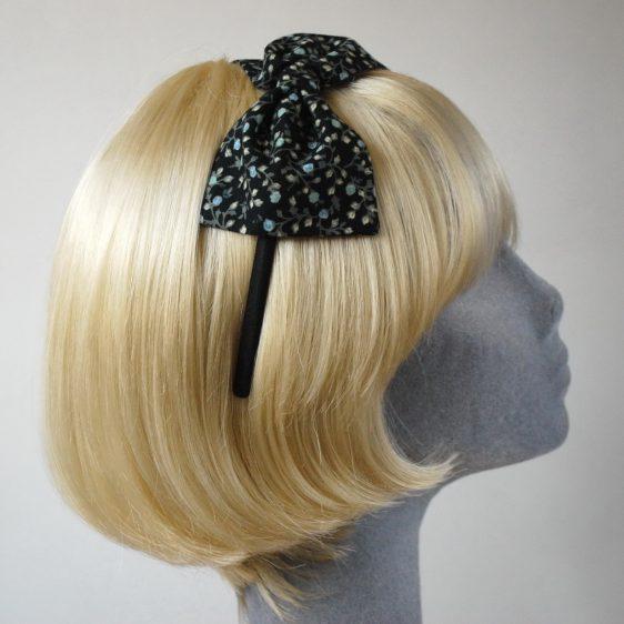 Black Aqua Floral Bow Headband side