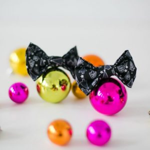 Black Silver Christmas Tree Bow Hair Clip